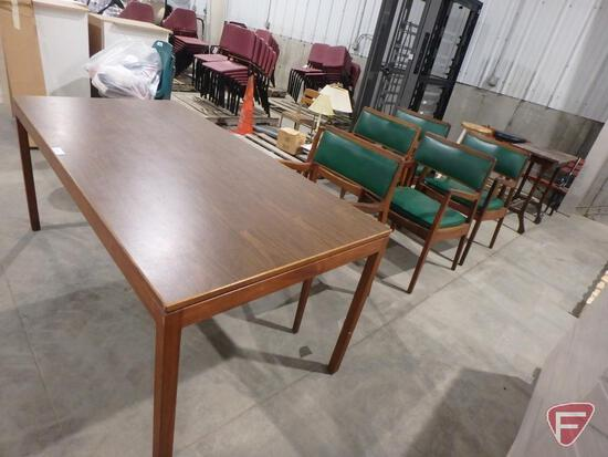 "Table and (5) matching padded arm chairs, 64"" x 32' x 28"""