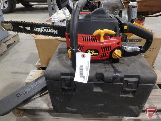 "Homelite 33cc gas chainsaw with 16"" bar and case, sn AG3351708"