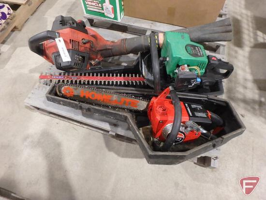 Homelite 10403A gas chainsaw with case, Weed Eater 25cc gas hedge trimmer