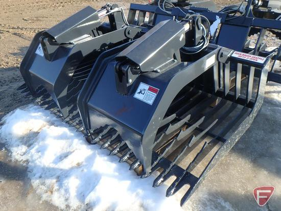 NEW Stout rock bucket/brush grapple combo HD72-3 open-end universal skid steer attachment