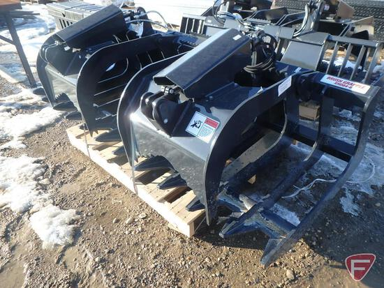 NEW Stout brush grapple XHD 84-6 universal skid steer attachment with skid steer quick attach