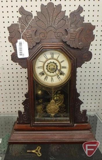 Vintage Waterbury Clock Company mantle clock, Niles, 8 day spring strike, with key, 22inHx15inWx5inD