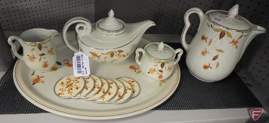 Jewel Tea teapot, cream/sugar, coffee pot; metal tray and coasters