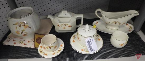 Jewel Tea teapot, gravy boat, jelly jar, custard cups, parts of dripolator
