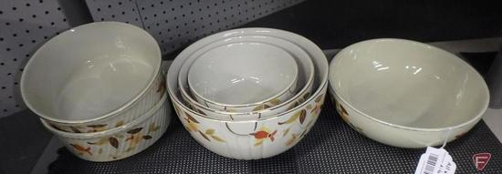 Jewel Tea 3-piece nesting bowl set, (2) casserole dishes, (1) bowl