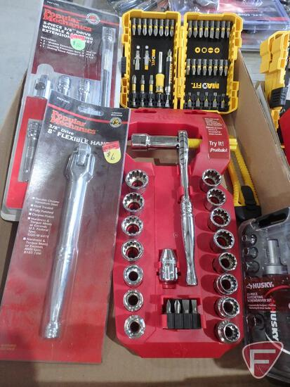 DeWalt driver set, Husky SAE and Metric socket set, Husky driver set, socket extensions and drivers