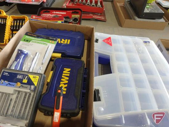 Irwin wood bits, drill bits, bosch sabre saw blades, screwdriver set, and plastic organizer