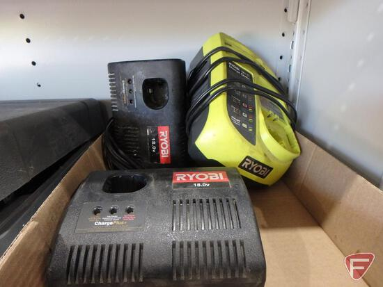 Ryobi P113 One + battery charger and (2) other Ryobi battery chargers