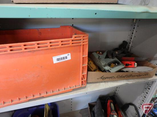 Hammers, hand staplers, saw, soldering iron, tape measure