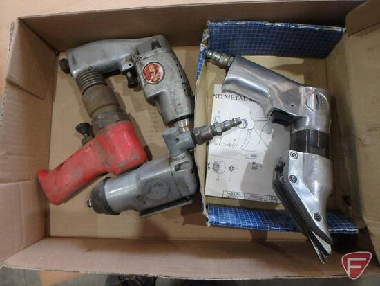 """Air tools: 3/8"""" butterfly ratchet, air hammer, and metal shear"""