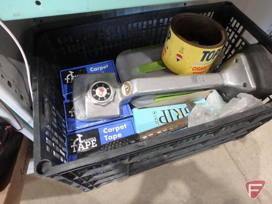 Carpet installation tools: carpet stretcher, tape, carpet trimmer, nails, and some tools
