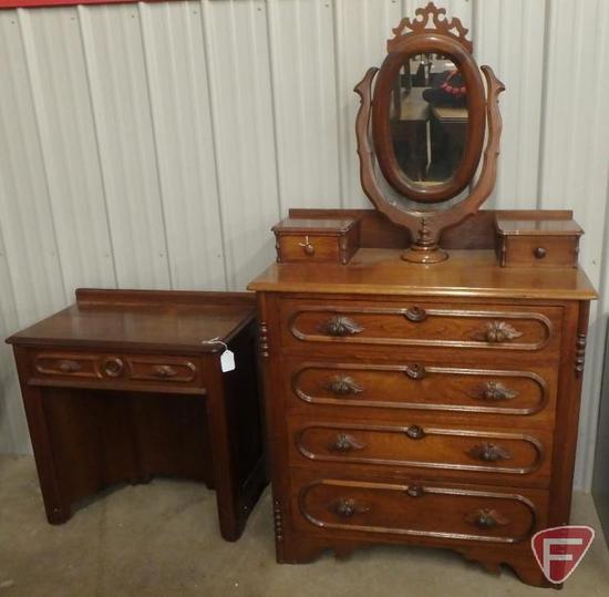 "Vintage dresser with positional mirror 39""W x 19""D x 69""H, matching vanity/desk 30""W. 2 pcs"