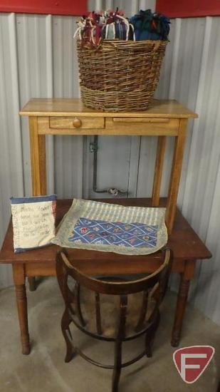 "(2) tables: 1 with drawer and pull out, largest is 42""W x 29""D x 27""H; barrel chair;"