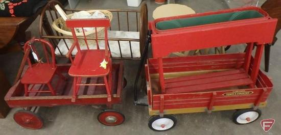 Radio Flyer Town & Country wagon, wood wagon, child's chair and rocking chair, and planter. 5 pcs.