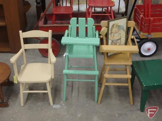 Children's furniture: chairs, rocking chair, highchairs, cabinet; framed prints. 14 pcs