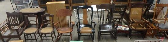 Vintage chairs: rocking chairs; (2) footstools; magazine rack. 11 pcs