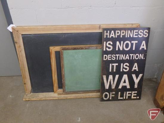 "(3) chalkboards, largest 41""W x 27""D; (1) wood sign. 4 pcs"