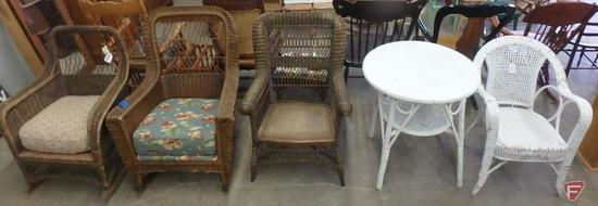 Wicker furniture: (2) rocking chairs, (2) chairs, table. 5 pcs