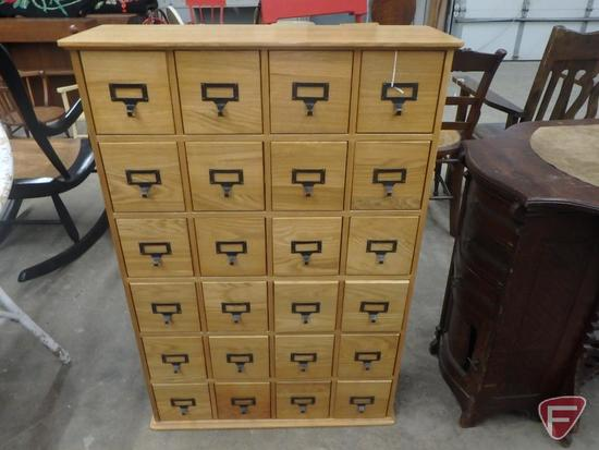 "24-drawer storage cabinet 27""W x 10""D x 40""H"