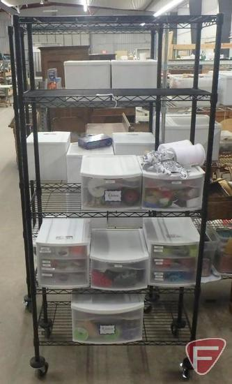 "5-shelf metal cart on wheels 36""W with plastic organizers with ribbon. Cart & contents"