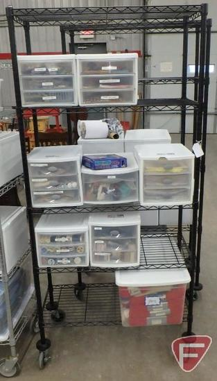 "5-shelf metal cart on wheels 36""W with plastic organizers with craft/sewing supplies. Cart &"