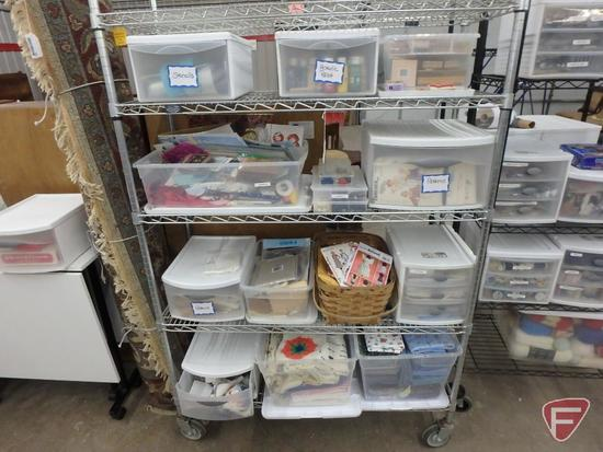 "Nexel metal cart on wheels, 5 shelves, 48""W; plastic organizers with craft/sewing supplies."