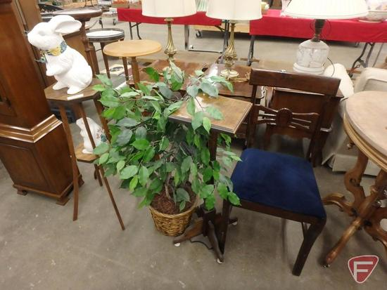 (4) plant stands, chair with upholstered seat, artificial plant, figurines. 8 pcs