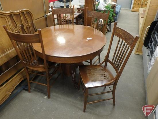"""44"""" round pedestal table, (4) matching chairs. 5 pcs"""