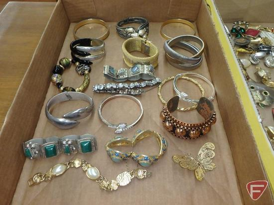 Ladies jewelry: bracelets, earrings, pins. 2 boxes