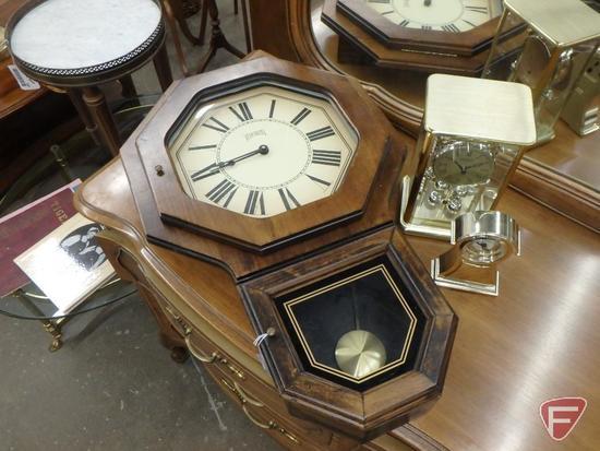 "Verichron pendulum wall clock 26"", Danbury anniversary clock, Linden table-top clock. 3 pcs"