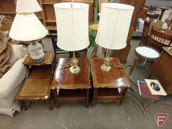 (3) end tables, 2 matching; (3) table lamps, 2 matching; glass top table, marble-top stand;