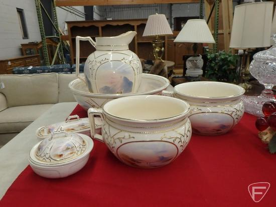 Hanley, Staffordshire England, complete commode set