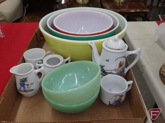 3-pc Pyrex bowl set, Fire King bowls, child tea set