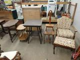 Upholstered rocking chair with matching bench, end table, (3) occasional tables, step stool. 7 pcs