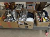 Bakeware, platters, bowls, kitchen utensils, pots & pans. 3 boxes