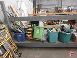 Yard and garden tools, tripod sprinklers, tarp, furniture dolly, rope, shelf brackets,