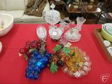 Glassware: candle holder, vase, candy/relish tray, deviled egg tray, grapes