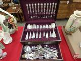 (44) pcs Sterling flatware and other plated flatware, most monogrammed, in wood case