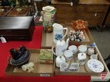 Lefton china, Germany cream/sugar, colored glass, marble cannon & trinket box, covered