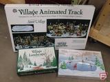 Dept 56, Village Animated Track, Animated Skating Pond, and Village Landscape. 3 pcs