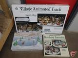 Dept 56, Village animated track, Revolving Turntable, and Skating Pond. 3 pcs