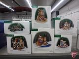 Dept 56, North Pole, Dickens Village, Little town of Bethlehem Series; and accessory bridge. 6 pcs