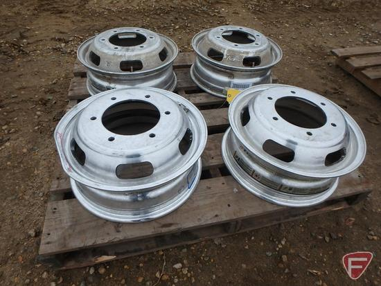 (4) Aluminum Alcoa 16x5.5 wheels with 6x205mm pattern, 1 is visibly bent