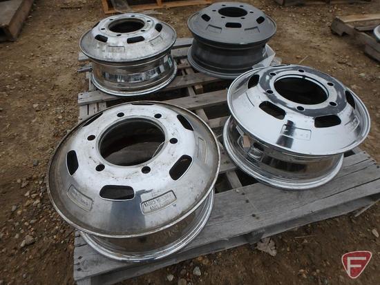 (3) Chromed 16x6 rear wheels with 6x205mm pattern, gray 16x6 rear wheel with 6x180mm pattern