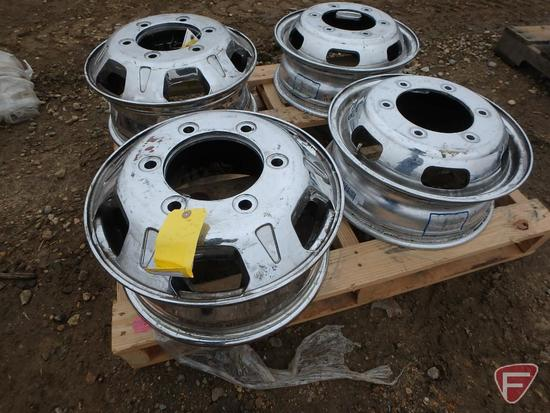 (2) Aluminum Alcoa 16x5.5 wheels with 6x205mm pattern, (2) chromed 16x6 front wheels with 6x205mm bc