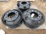 (3) Steel 22.5x8.25 wheels with 10x11.25in pattern