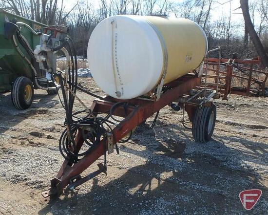 Demco 500 gallon pull behind single axle poly boom sprayer, PTO pump, folding boom, model HCS-500