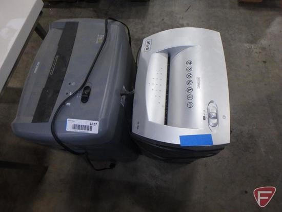 (2) Paper shredders on rollers: Ativa DX120P and Init-PS12CC