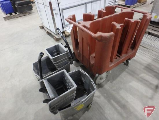 Poly dish caddy and (2) wringer mop buckets