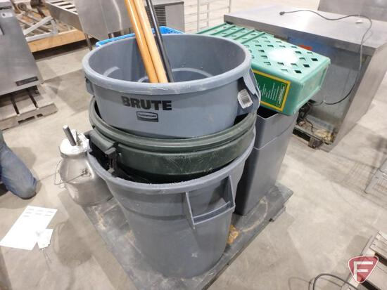 Rubbermaid and other wastebaskets, (5) waste management recycling baskets, 2 squeegees and broom